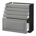 МЕТОД / МАКСИМЕРА Напольный шкаф с 5 ящиками - 80x37 см, Будбин серый, под дерево черный