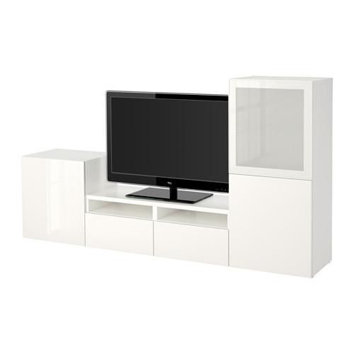 Mobile Porta Tv Cristallo Prezzi.Mobile Tv Besta Combinato Porta Di Vetro Bianco Selsviken