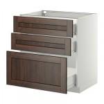 МЕТОД / ФОРВАРА Напольный шкаф с 3 ящиками - 80x60 см, Эдсерум под дерево коричневый, белый