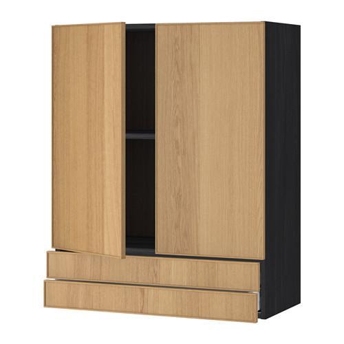 МЕТОД / МАКСИМЕРА Навесной шкаф/2дверцы/2ящика - 80x100 см, Экестад дуб, под дерево черный