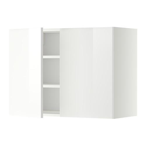 МЕТОД Навесной шкаф с полками/2дверцы - 80x60 см, Рингульт глянцевый белый, белый