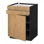 МЕТОД / МАКСИМЕРА Напольный шкаф с дверцей/2 ящиками - 60x60 см, Экестад дуб, под дерево черный