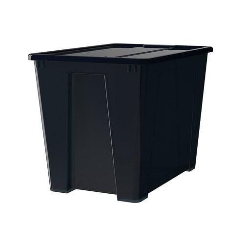 САМЛА Контейнер с крышкой - черный, 57x39x42 см/65 л