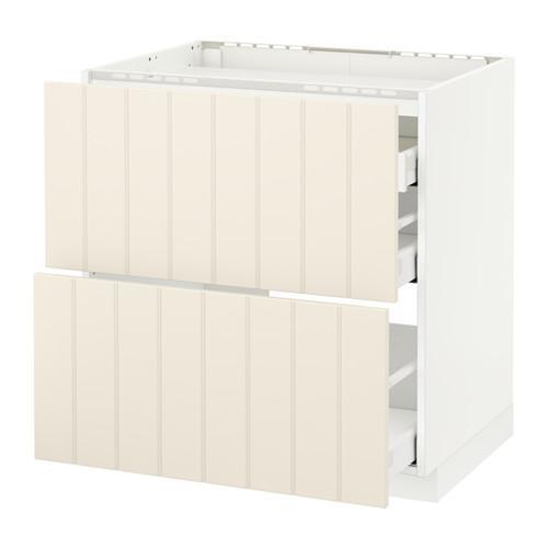 МЕТОД / МАКСИМЕРА Напольн шкаф/2 фронт пнл/3 ящика - 80x60 см, Хитарп белый с оттенком, белый