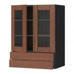 МЕТОД / ФОРВАРА Навесной шкаф/2 стек дв/2 ящика - 60x80 см, Филипстад коричневый, под дерево черный