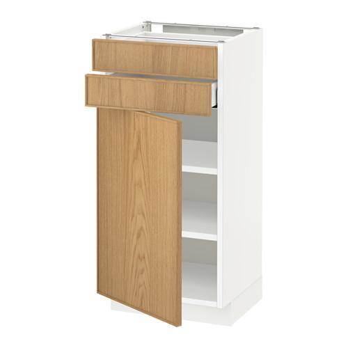 МЕТОД / МАКСИМЕРА Напольный шкаф с дверцей/2 ящиками - 40x37 см, Экестад дуб, белый
