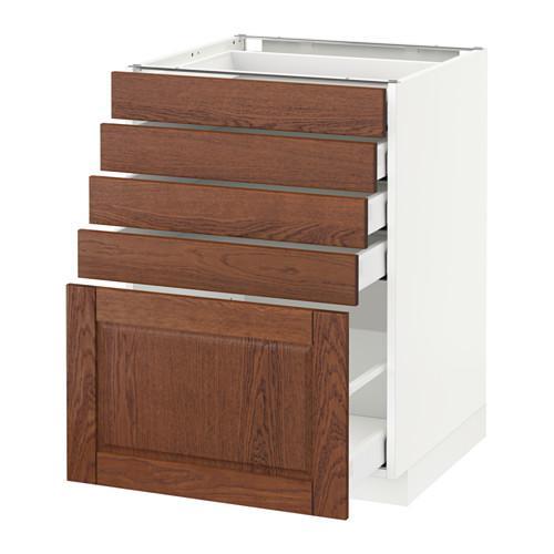 МЕТОД / МАКСИМЕРА Напольный шкаф с 5 ящиками - 60x60 см, Филипстад коричневый, белый