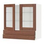 МЕТОД / ФОРВАРА Навесной шкаф/2 стек дв/2 ящика - 80x80 см, Филипстад коричневый, белый