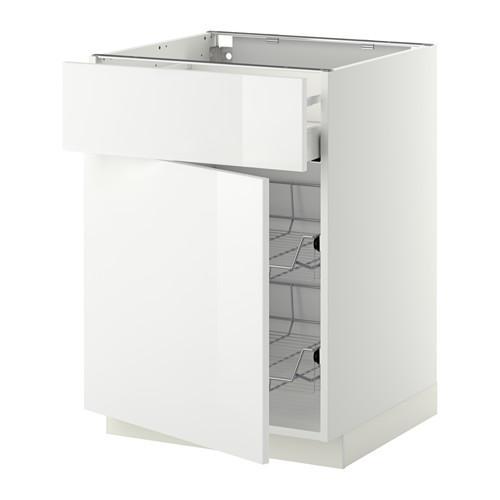 МЕТОД / МАКСИМЕРА Напольн шкаф с пров корз/ящ/дверью - 60x60 см, Рингульт глянцевый белый, белый