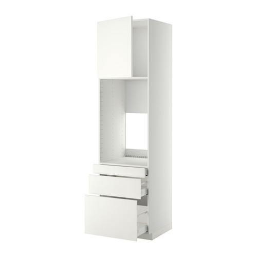 МЕТОД / МАКСИМЕРА Выс шкаф д/двойн духовки/3ящ/дверца - 60x60x220 см, Хэггеби белый, белый