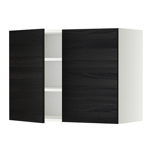 МЕТОД Навесной шкаф с полками/2дверцы - 80x60 см, Тингсрид под дерево черный, белый