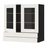 МЕТОД / ФОРВАРА Навесной шкаф/2 стек дв/2 ящика - 80x80 см, Сэведаль белый, под дерево черный