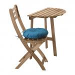 АСКХОЛЬМЕН Стол+1 складной стул, д/сада - Аскхольмен серо-коричневый/Иттерон синий
