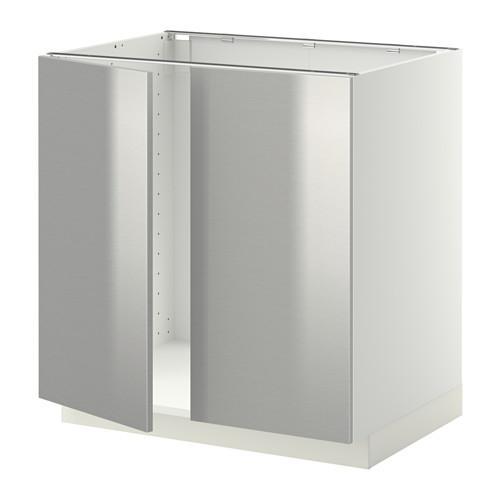 МЕТОД Напольн шкаф д раковины+2 двери - Гревста нержавеющ сталь, белый