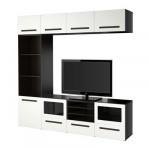 БЕСТО Шкаф для ТВ, комбин/стеклян дверцы - направляющие ящика, плавно закр, черно-коричневый/Марвикен белый прозрачное стекло