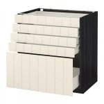 МЕТОД / ФОРВАРА Напольный шкаф с 5 ящиками - 80x60 см, Хитарп белый с оттенком, под дерево черный