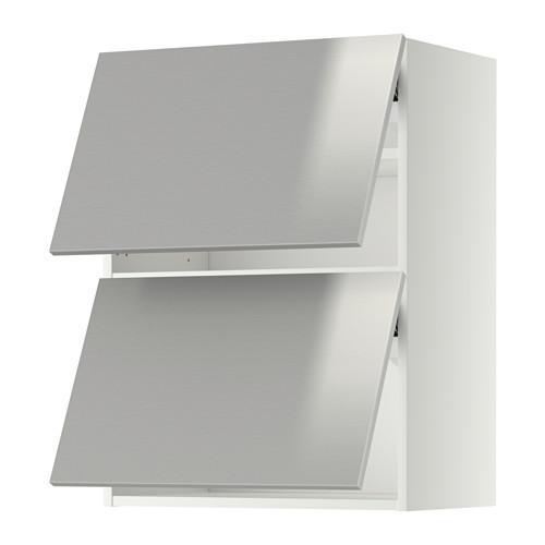 МЕТОД Навесной шкаф/2 дверцы, горизонтал - 60x80 см, Гревста нержавеющ сталь, белый
