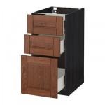 МЕТОД / ФОРВАРА Напольный шкаф с 3 ящиками - 40x60 см, Филипстад коричневый, под дерево черный