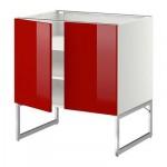 МЕТОД Напол шкаф с полками/2двери - 80x60x60 см, Рингульт глянцевый красный, белый