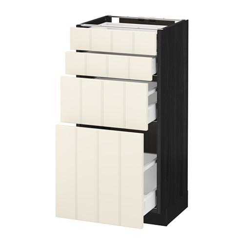 МЕТОД / МАКСИМЕРА Напольн шкаф 4 фронт панели/4 ящика - 40x37 см, Хитарп белый с оттенком, под дерево черный