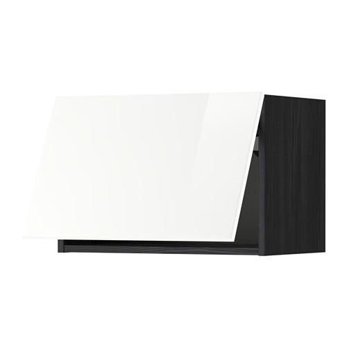 МЕТОД Горизонтальный навесной шкаф - 60x40 см, Рингульт глянцевый белый, под дерево черный