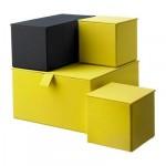 ПАЛЬРА Набор коробок с крышкой, 4 шт - темно-желтый