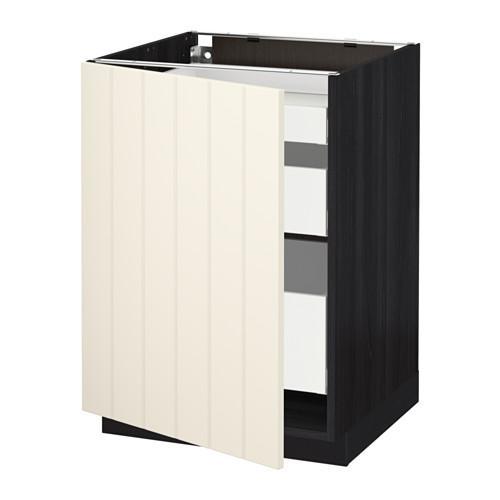 МЕТОД / МАКСИМЕРА Напольный шкаф с 1двр/3ящ - 60x60 см, Хитарп белый с оттенком, под дерево черный