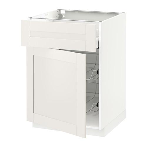МЕТОД / МАКСИМЕРА Напольн шкаф с пров корз/ящ/дверью - 60x60 см, Сэведаль белый, белый
