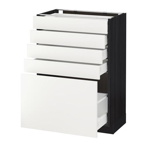 МЕТОД / МАКСИМЕРА Напольный шкаф с 5 ящиками - 60x37 см, Хэггеби белый, под дерево черный