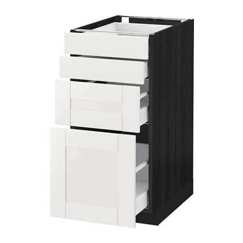 МЕТОД / МАКСИМЕРА Напольн шкаф 4 фронт панели/4 ящика - 40x60 см, Сэведаль белый, под дерево черный