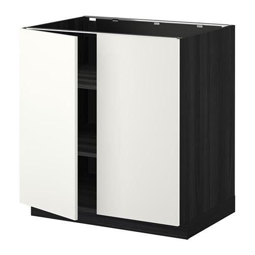 МЕТОД Напол шкаф с полками/2двери - 80x60 см, Хэггеби белый, под дерево черный