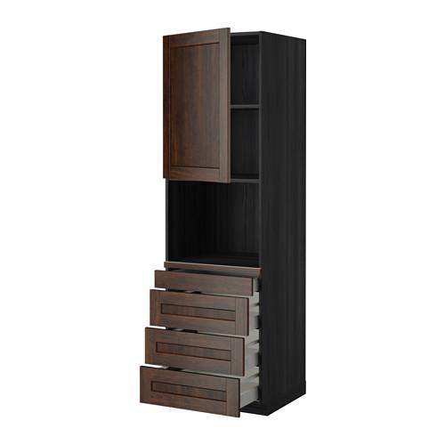 МЕТОД / МАКСИМЕРА Высокий шкаф д/комбинир СВЧ/4 ящика - 60x60x200 см, Эдсерум под дерево коричневый, под дерево черный