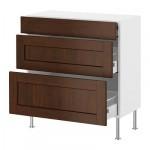 ФАКТУМ Напольный шкаф с 3 ящиками - Роккхаммар коричневый, 80x37 см