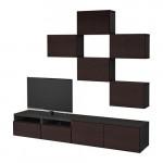БЕСТО Шкаф для ТВ, комбинация - черно-коричневый/Инвикен черно-коричневый, направляющие ящика, плавно закр