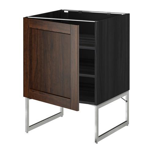 МЕТОД Напольный шкаф с полками - 60x60x60 см, Эдсерум под дерево коричневый, под дерево черный