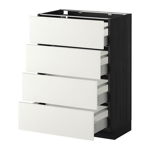 МЕТОД / МАКСИМЕРА Напольн шкаф 4 фронт панели/4 ящика - 60x37 см, Хэггеби белый, под дерево черный