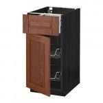 МЕТОД / МАКСИМЕРА Напольн шкаф с пров корз/ящ/дверью - 40x60 см, Филипстад коричневый, под дерево черный