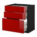 МЕТОД / МАКСИМЕРА Напольн шкаф/3фронт пнл/3ящика - 80x60 см, Рингульт глянцевый красный, под дерево черный