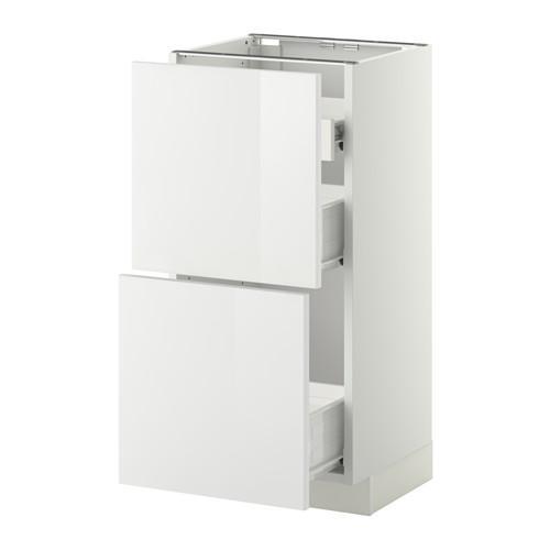 VERFAHREN / FORVARA Nap Schrank 2 FRNT PNL / 1nizk / 2sr Schubladen - weiß, glänzend weiß Ringult, 40x37 cm