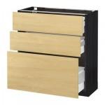 МЕТОД / МАКСИМЕРА Напольный шкаф с 3 ящиками - 80x37 см, Тингсрид под березу, под дерево черный