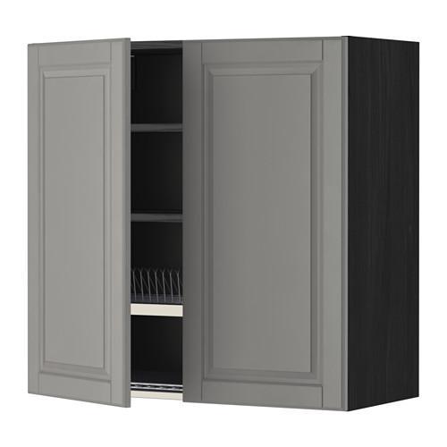 МЕТОД Навесной шкаф с посуд суш/2 дврц - 80x80 см, Будбин серый, под дерево черный