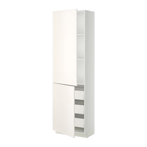 МЕТОД / МАКСИМЕРА Высокий шкаф+полки/3 ящика/2 дверцы - белый, Веддинге белый, 60x37x200 см