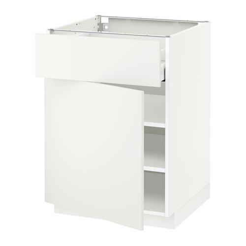 МЕТОД / МАКСИМЕРА Напольный шкаф с ящиком/дверью - 60x60 см, Хэггеби белый, белый