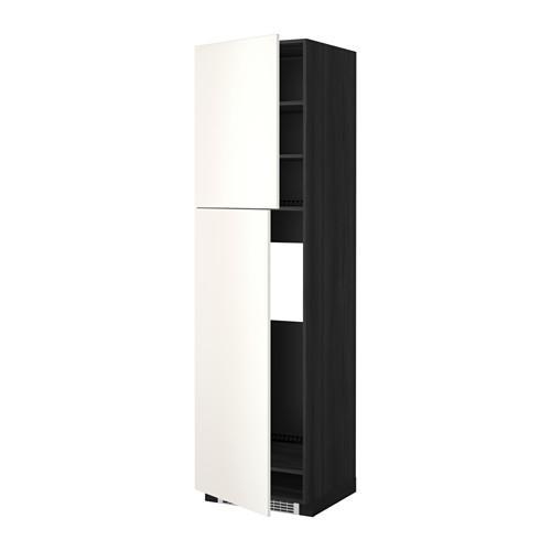 МЕТОД Высокий шкаф д/холодильника/2дверцы - 60x60x220 см, Веддинге белый, под дерево черный