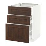 МЕТОД / МАКСИМЕРА Напольный шкаф с 3 ящиками - 60x60 см, Эдсерум под дерево коричневый, белый