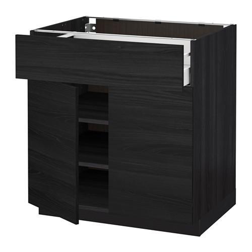 МЕТОД / МАКСИМЕРА Напольный шкаф+ящик/2дверцы - 80x60 см, Тингсрид под дерево черный, под дерево черный