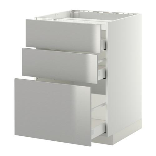 МЕТОД / МАКСИМЕРА Напольн шкаф/3фронт пнл/3ящика - 60x60 см, Гревста нержавеющ сталь, белый