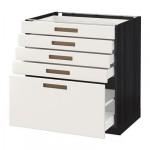 МЕТОД / МАКСИМЕРА Напольный шкаф с 5 ящиками - 80x60 см, Мэрста белый, под дерево черный