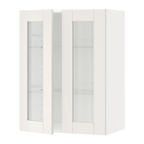 МЕТОД Навесной шкаф с полками/2 стекл дв - 60x80 см, Сэведаль белый, белый