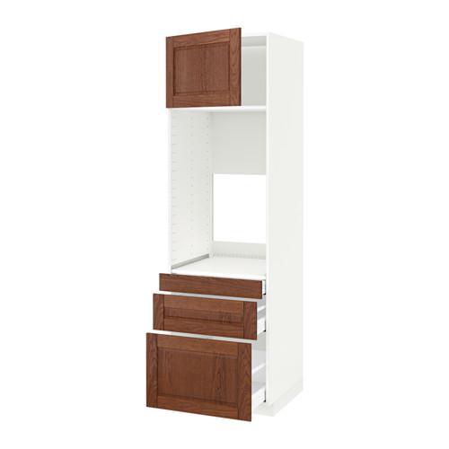 МЕТОД / МАКСИМЕРА Выс шкаф д/двойн духовки/3ящ/дверца - белый, Филипстад коричневый, 60x60x200 см